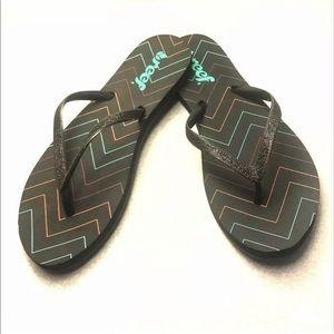 NEW Reef Print Flip Flop Glitter Sandals